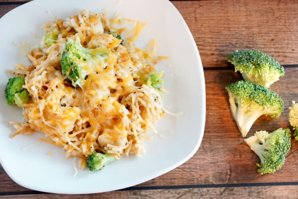 Your whole family will love this cheesy chicken broccoli rice casserole! Easy to make, freezes great and so delicious! It's the perfect meal!   happymoneysaver.com