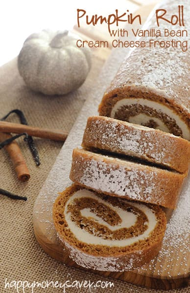 pumpkin roll with vanilla bean frosting