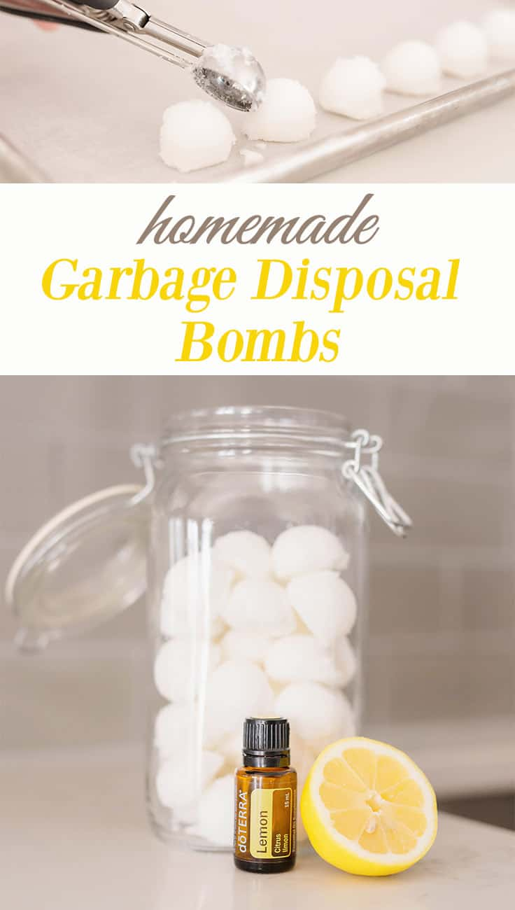 "The top has a cookie scoop with white balls on a white cookie sheet. In the middle the words are written ""homemade Garbage Disposal Bombs"". The bottom picture is a glass jar filled with white garbage disposal bombs with half of a lemon and a bottle of lemon essential oil."