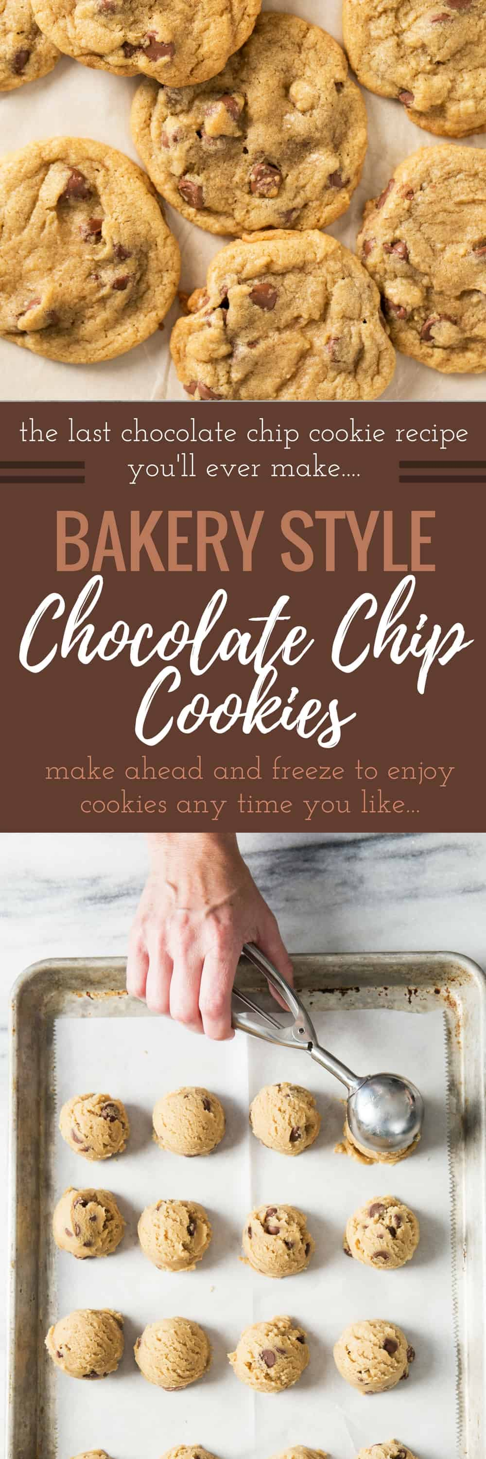 The BEST BAKERY STYLE Chocolate Chip Cookie Recipe that turns out perfect EVERY TIME! Once you try this recipe you will never want to make another recipe again, ever. It's perfection. The Master chocolate chip cookie recipe.