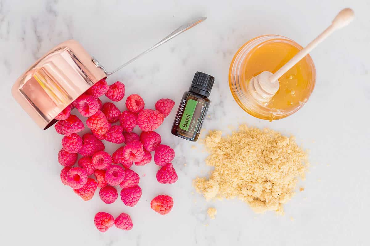DIY Raspberry-Basil Body Polish made with skin-loving nutrients that make your skin look good enough to eat.