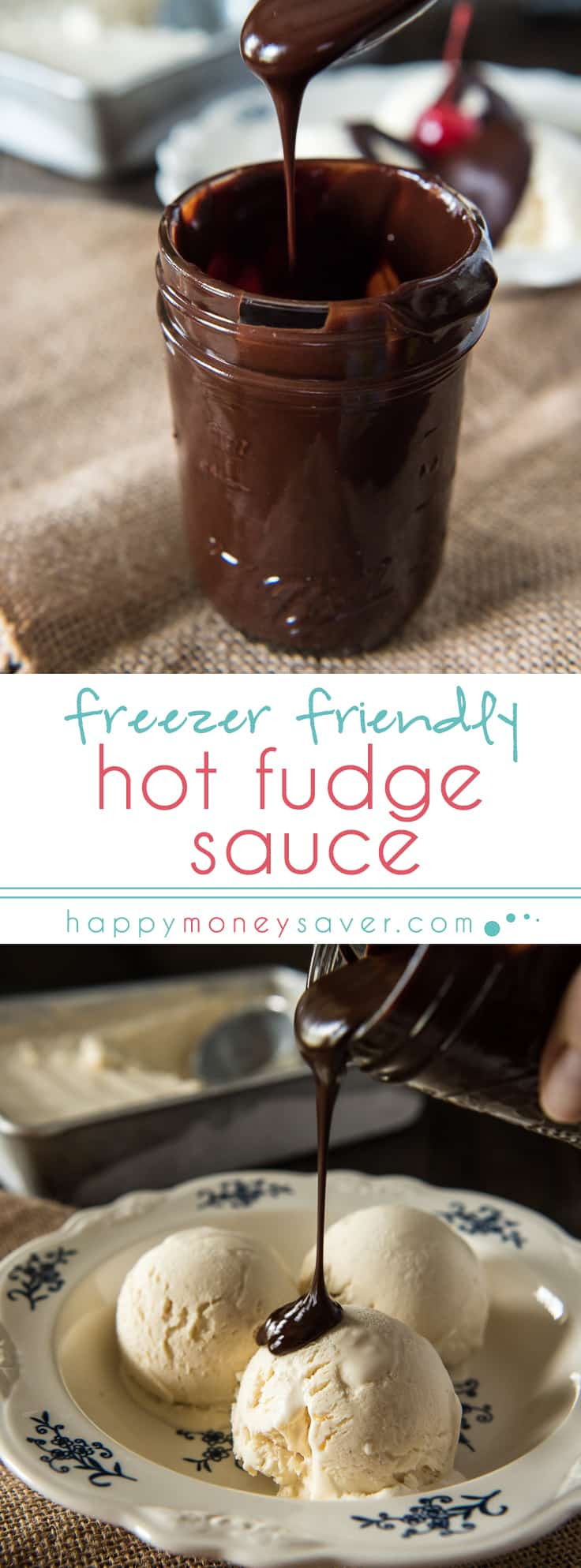 Freezer Friendly Hot Fudge Sauce, made in minutes and ready to top your favorite ice cream! | happymoneysaver.com