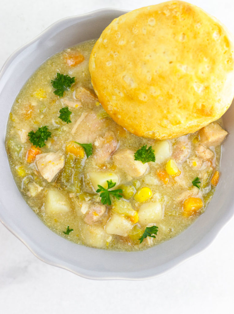 This amazing Instant Pot Light Chicken Pot Pie Freezer Meal is to die for! And less calories than traditional pot pies. yay!