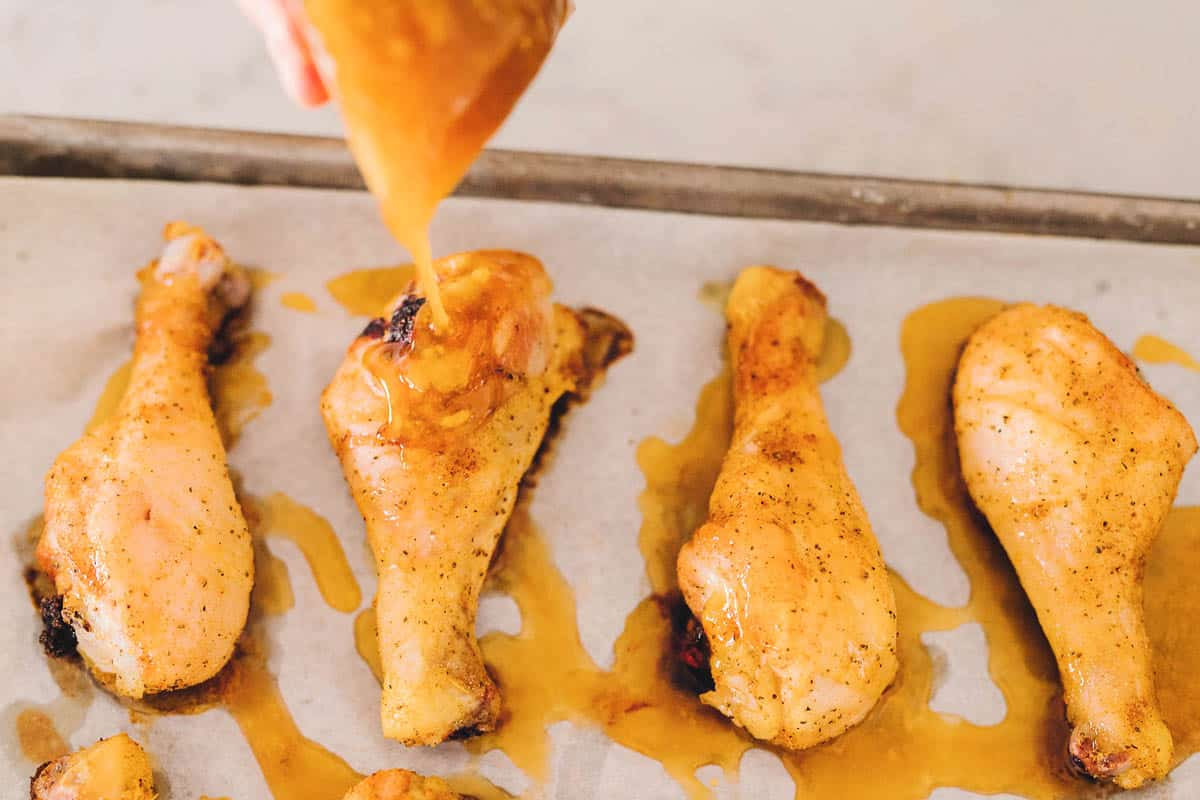 Freezer to Oven freezer meal recipe: Spicy Honey Chicken Drumsticks. They are so full of flavor