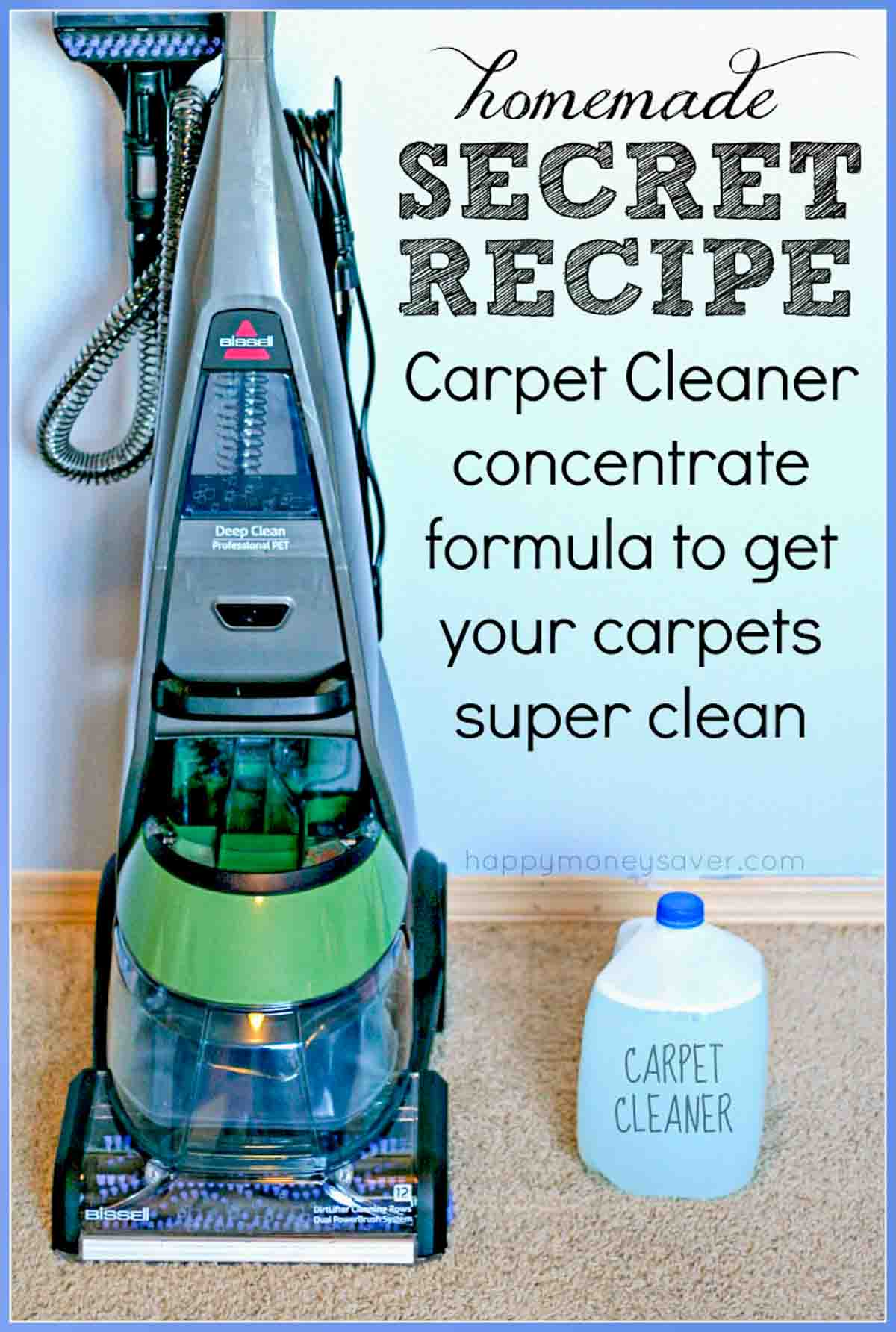 Bissell Carpet Shampoo Machine with Homemade Carpet Cleaner Solution in a gallon container.