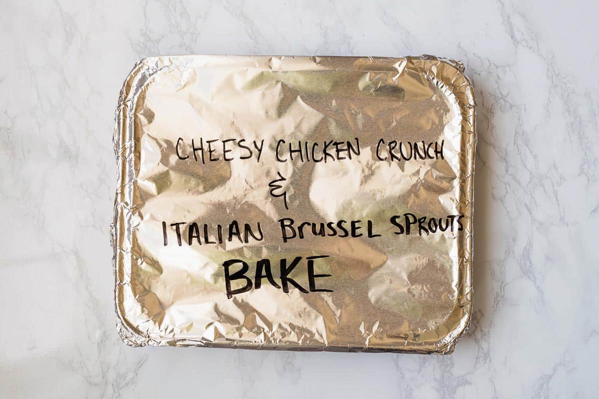Need a quick dinner? Try this Cheesy Crunch Chicken & Italian Brussel Sprouts Bake! This dish comes together super simply and is cooked all in one dish. Can I get a hallelujah?!