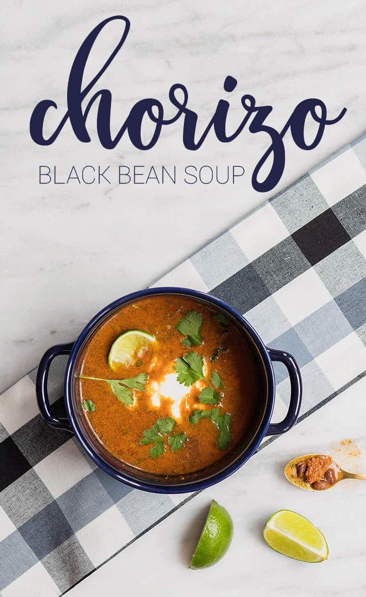 This Chorizo Black Bean Soup is a fun alternative to a more traditional bean soup with the flavors of spicy chorizo and fresh lime juice.