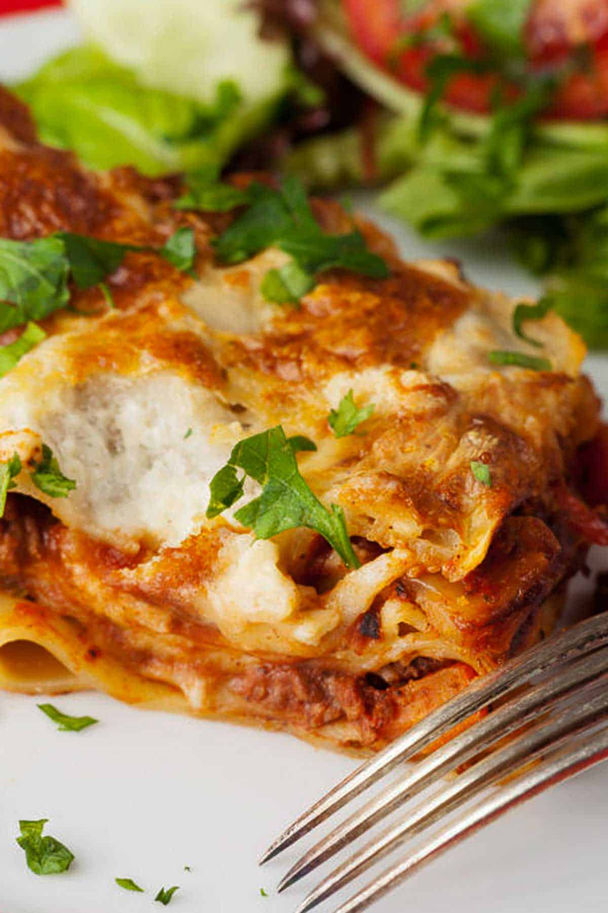 Make this easy lasagna recipe simple with fresh herbs on top