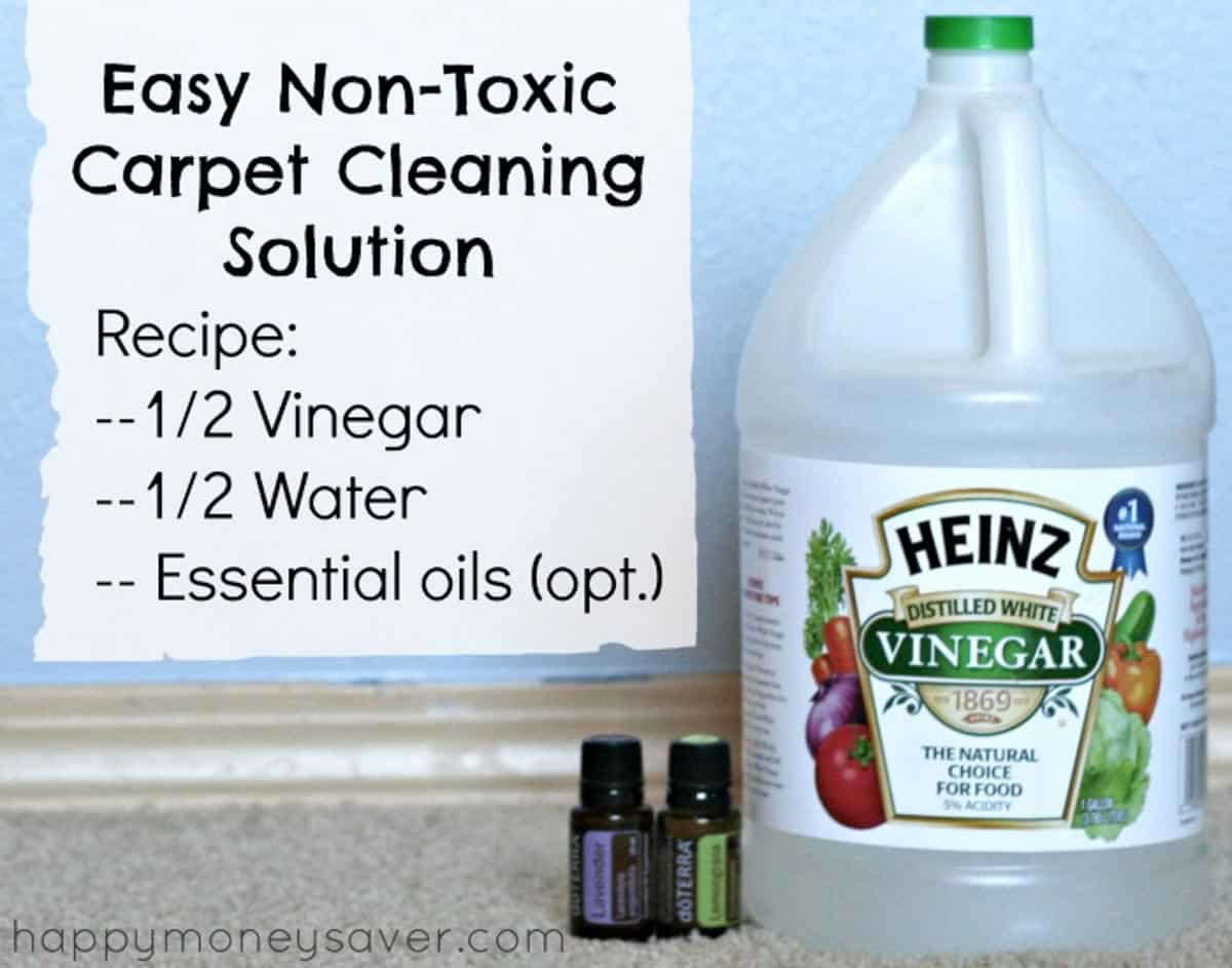 This Non-toxic homemade all natural carpet cleaner solution uses only vinegar, water and essential oils but cleans deeply leaving your carpets fresh.