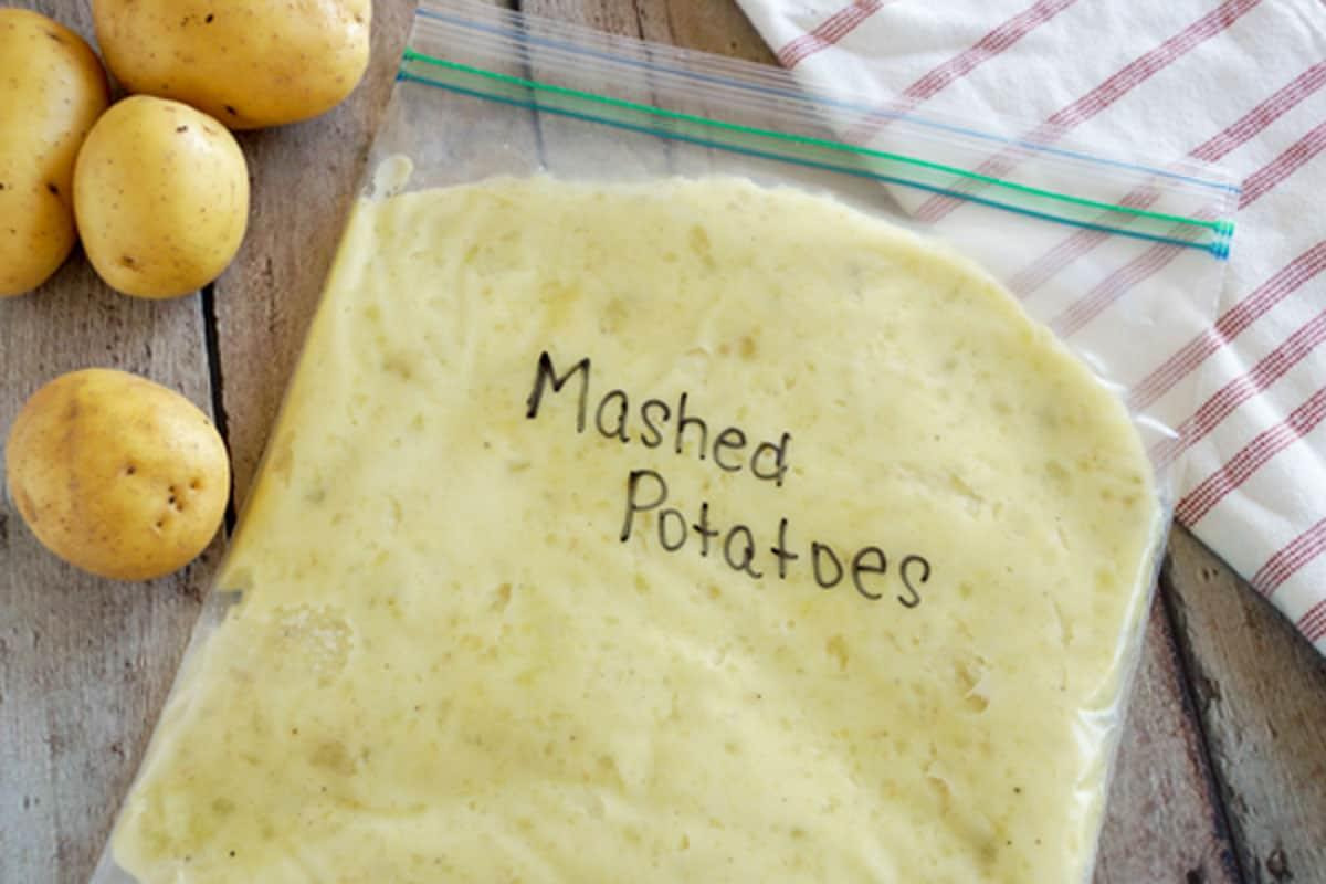 make ahead mashed potatoes in a freezer bag