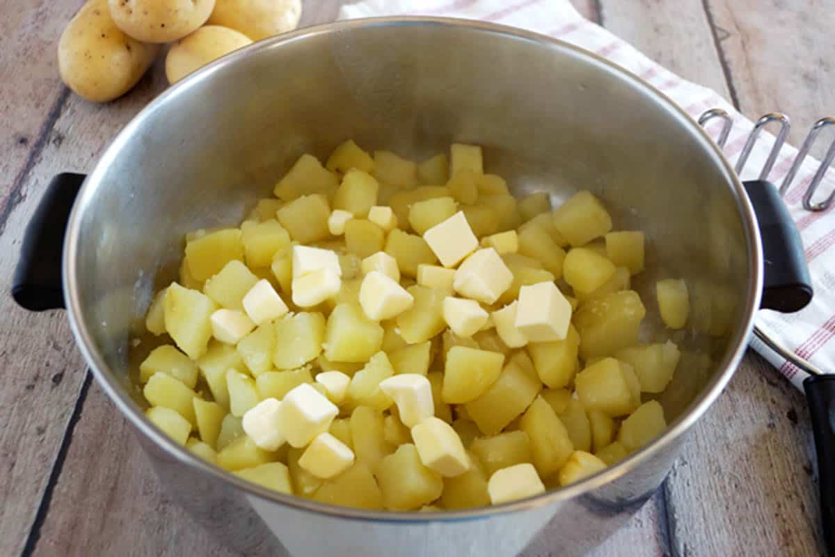 diced potatoes in a pot | make ahead mashed potatoes