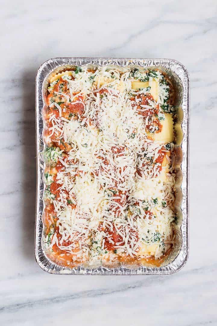ravioli lasagna bake in aluminum foil pan
