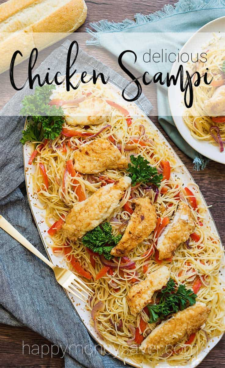 This chicken scampi recipe is to die for. Angel hair pasta covered in a creamy garlic sauce with caramelized onions and bell peppers, then topped with pan-fried chicken tenderloins.