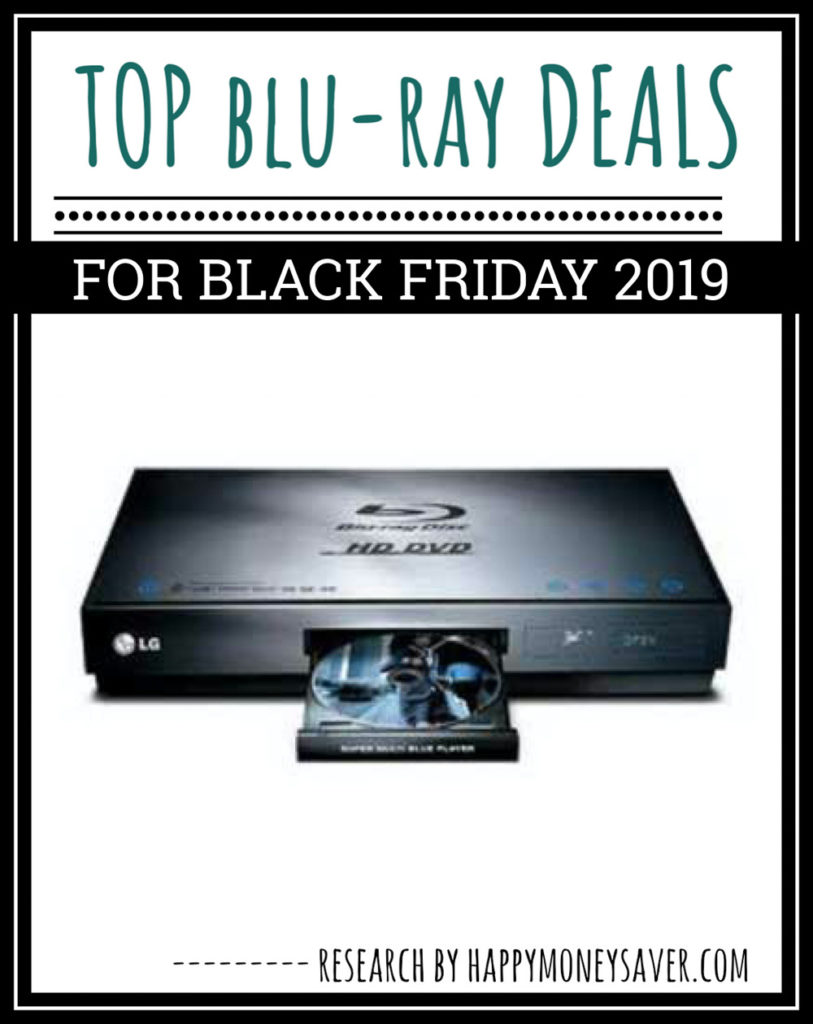 BluRay Deals for Black Friday 2019 graphic image with a bluray player in the center
