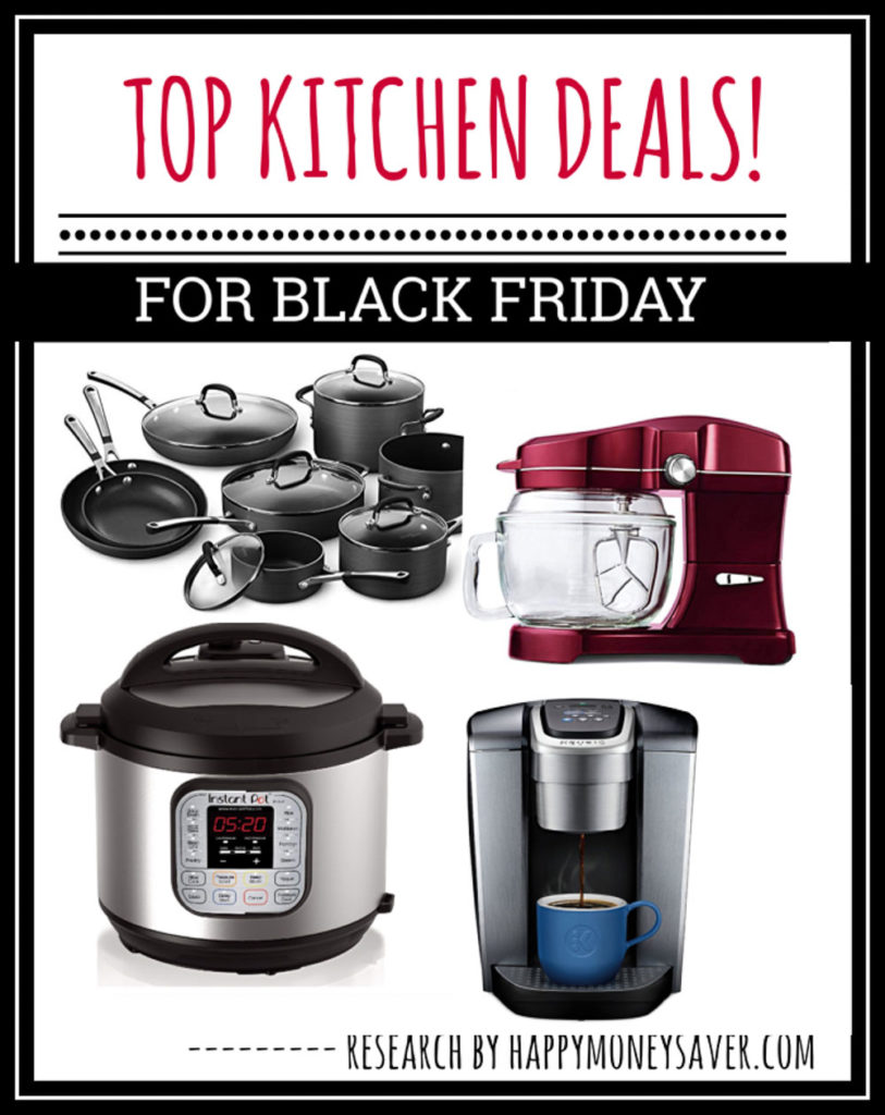 kitchen deals for black friday - pictured instant pot, kitchenaid, coffeemaker and pots n pans.