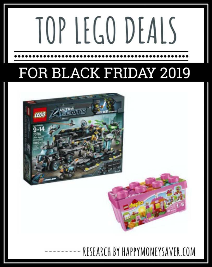 Graphic saying top lego black friday deals for 2019 including duplo, ultra agents, starwars, minecraft, and lego friends.