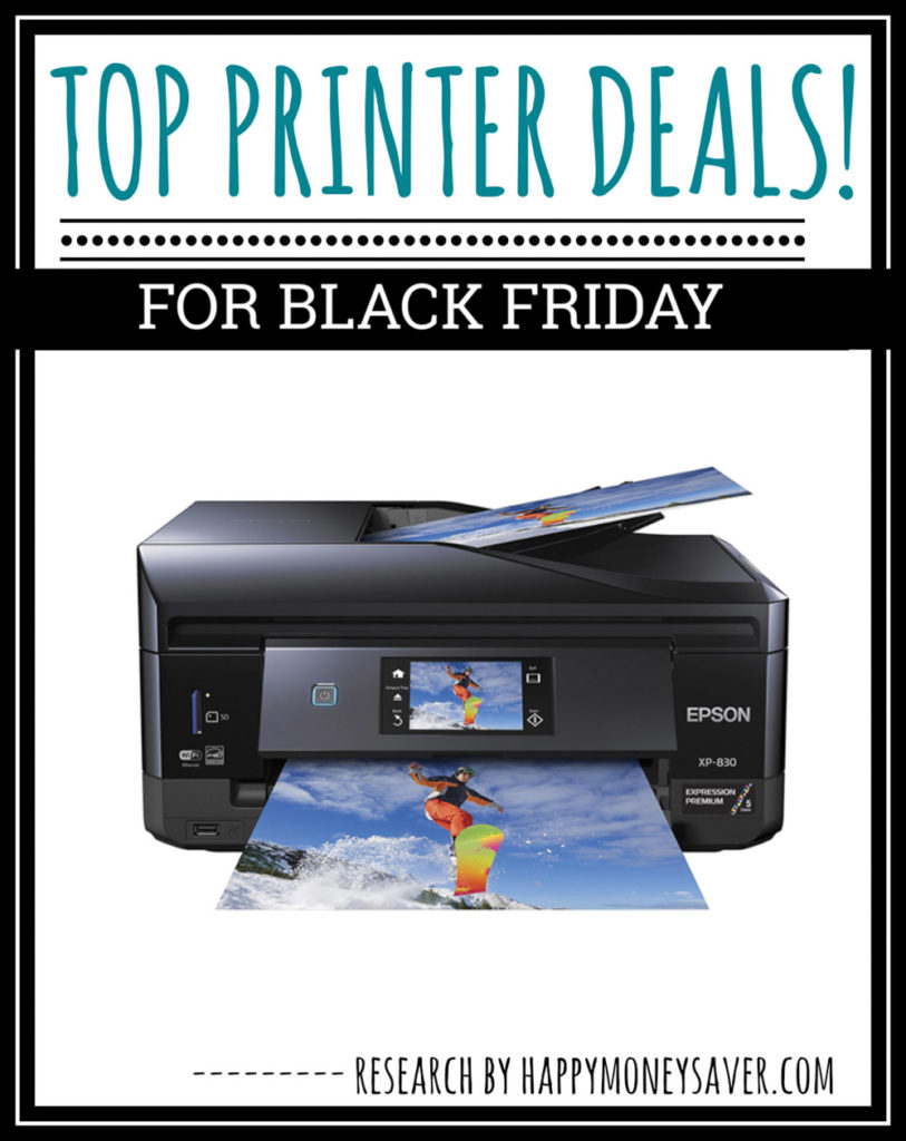Image with text on it saying Top Printer Deals! For Black Friday. Research by happymoneysaver.com and a printer is pictured.