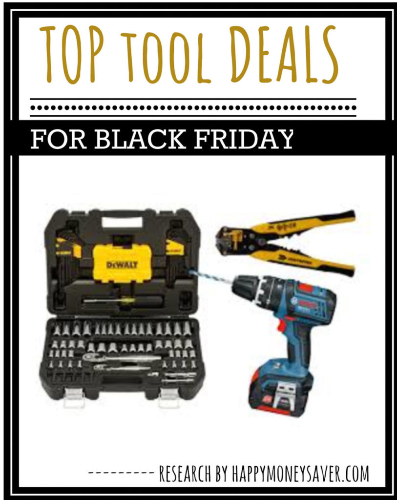 tool deals for black friday with three different tools pictured, drill, tool box and wrench