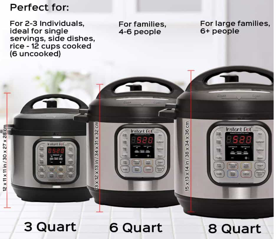 Instant Pot 3 quart, 6 quart and 8 quart pressure cookers side by side