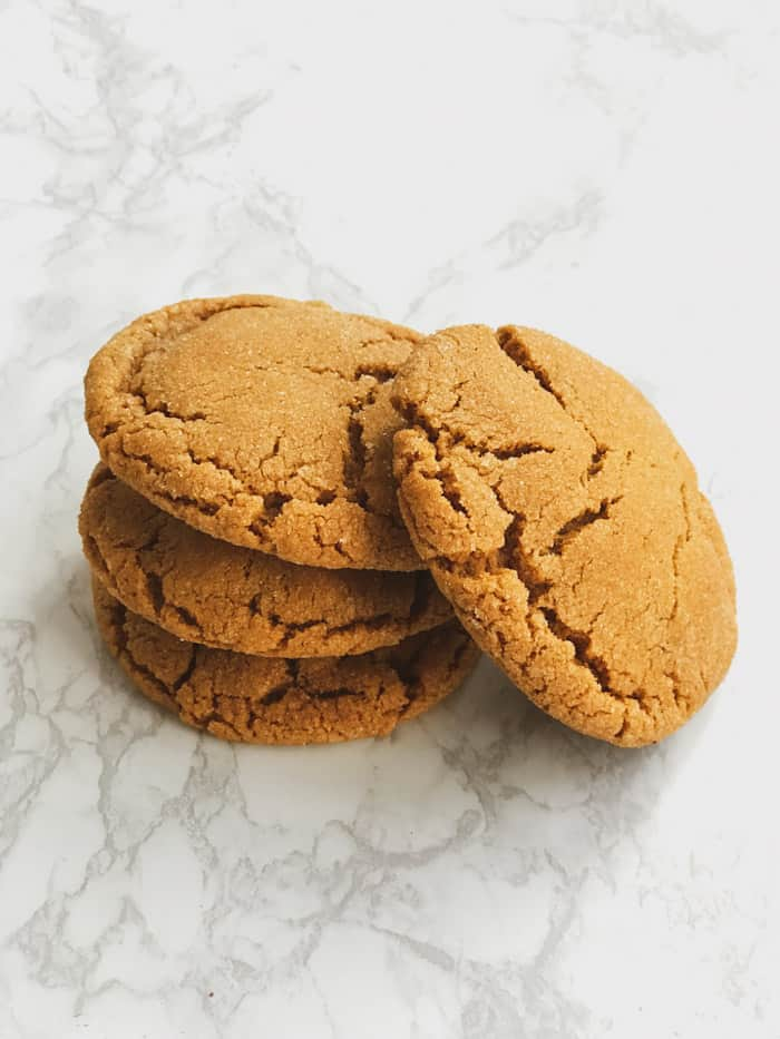 soft delicious chewy ginger molasses cookies stack