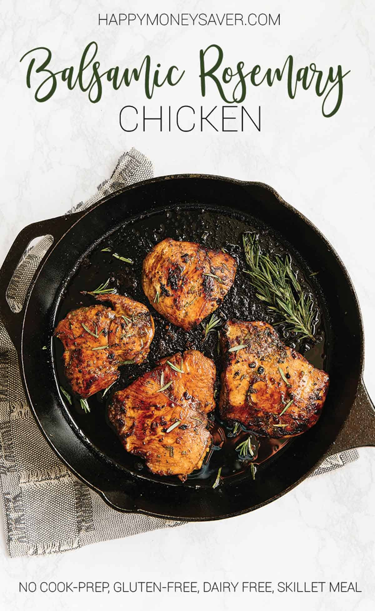 Balsamic Rosemary Chicken cooked in a skillet with fresh rosemary sprigs.