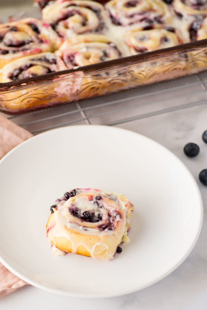 A pink pan holds sweet rolls topped with white icing in the background. A single white circular plate holds one sweet roll. There are a few blueberries on the counter.