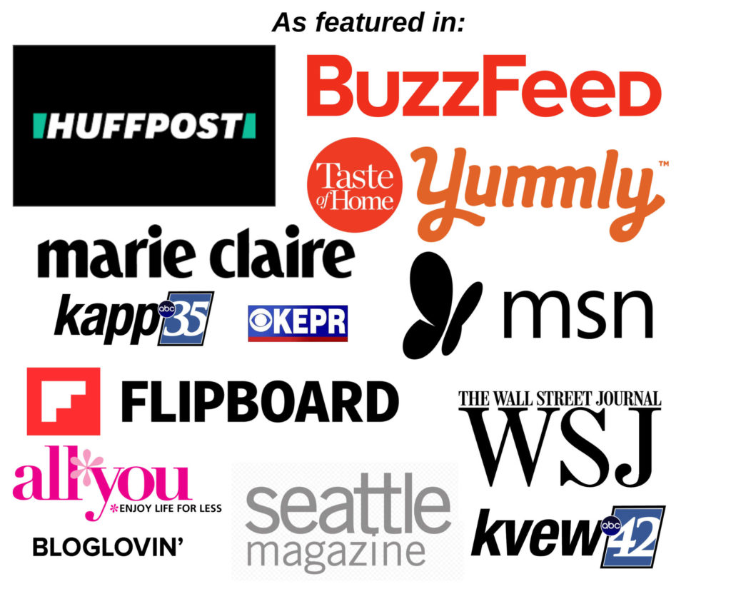 Image of all the logos places I've been featured including buzzfeed, taste of home, yummly, huffington post and more.