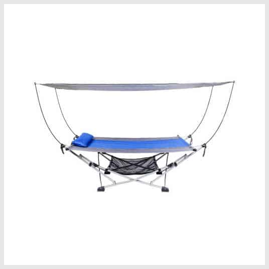 A hammock with a canopy on top.