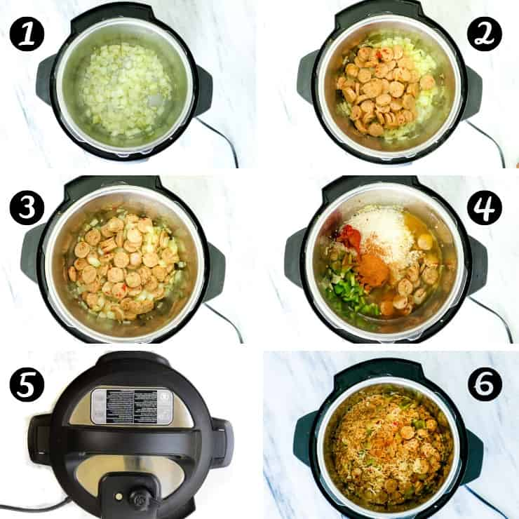 Step by step images showing you how to make instant pot chicken sausage and rice recipe.