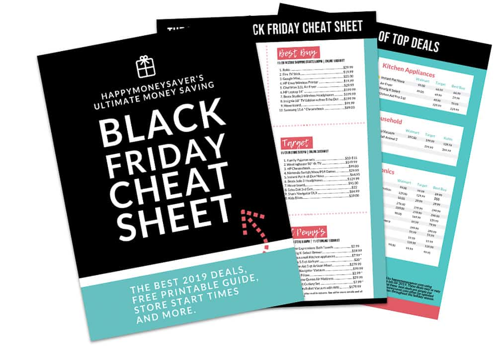 3 sheets with Black Friday Cheat Sheets