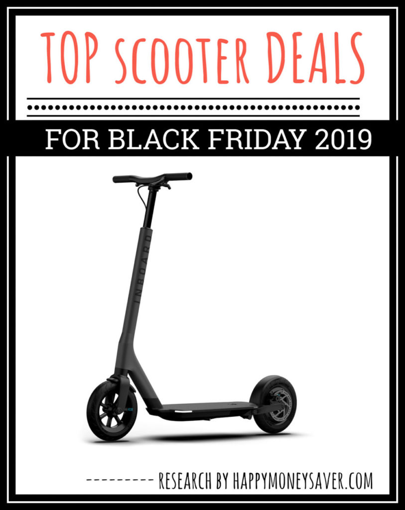Black Friday Scooter Sale roundup of deals for 2019 graphic with image of scooter on it and words.