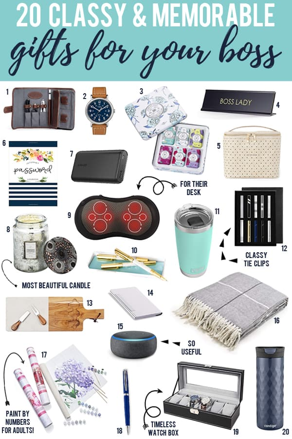 20 Classy White Elephant gifts for your boss with images below of the gifts.