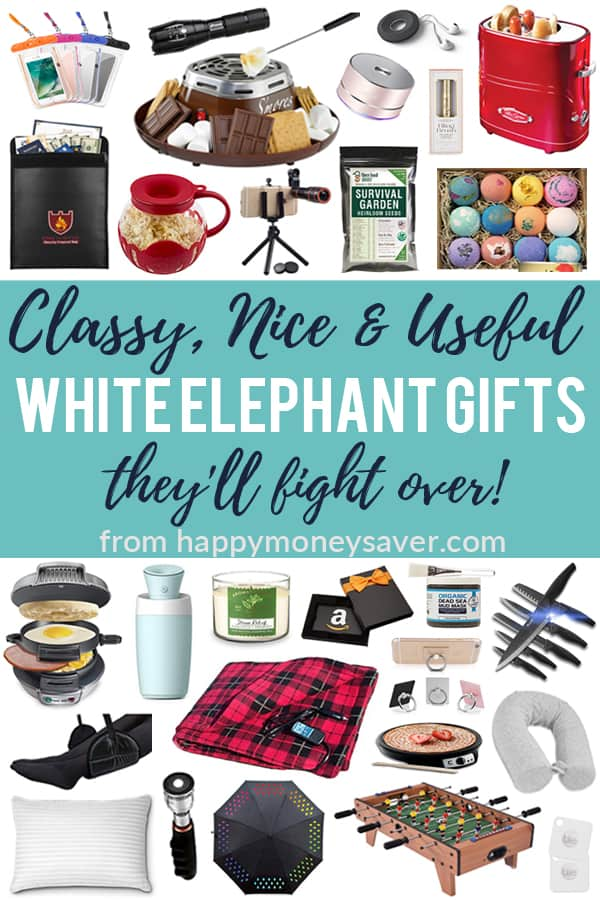 Classy, Nice & Useful White Elephant Gifts they'll fight over from happymoneysaver.com words on gray background with images of products.