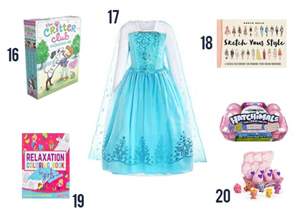 Good cheap gifts girls would love - these are items 16-20 in my post with pictures like hatchimals and frozen dress.