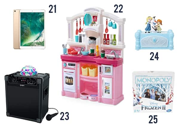 Christmas Gifts for Girls image with products on a white background.