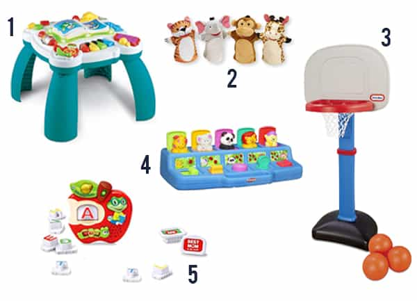 Gift Ideas for Toddlers items number 1-5 on a white background.