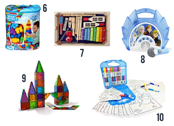 37 Best Gifts for Toddlers in 2019 items number6-10 on a white background.
