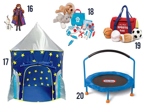 Gift Ideas for Toddlers you will love - these are items 16-20 with numbers next to them.