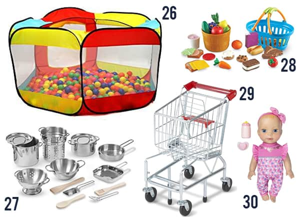 37 Toddler Gifts for Christmas with items number 26-30 on a white background.
