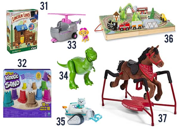Gift Ideas for a Toddler including Lincoln Logs, Kinetic Sand and others on a white background.