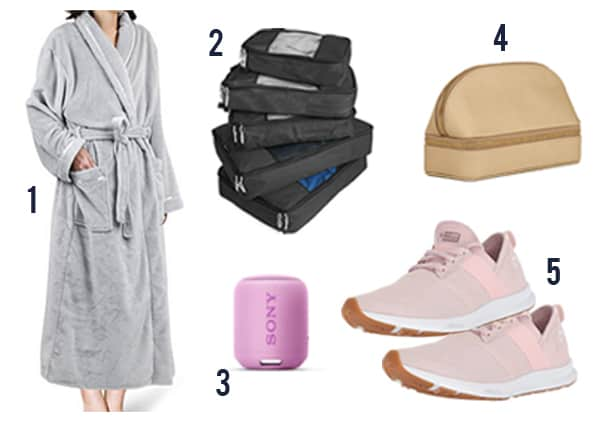 The 30 best gift ideas for women this holiday season like robe, packing cubes, Bluetooth speaker, jewelry organizer, and sneakers.