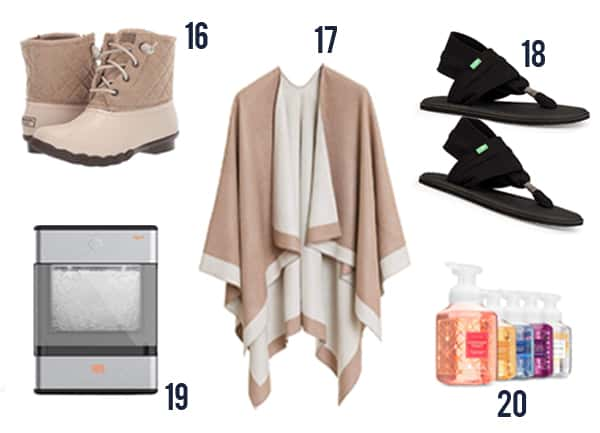 Products like rain boots, sandals, soaps, an ice maker and a poncho.