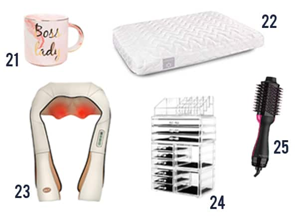 The 30 best ideas for women this holiday season including a mug, pillow, massager, makeup organizer, and air brush.