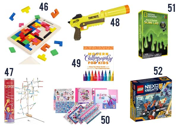 Best cheap gifts for kids under $15 that you'll love. Games and toys numbered 46-52 on white background.