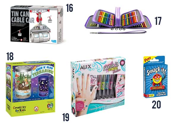 37 Gifts for Kids for Christmas - Toys and games for kids on white background numbers 15-20