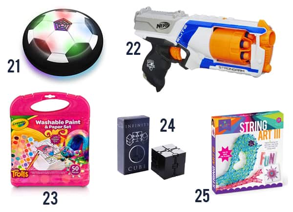 Toys and games for kids on white background numbers 21-25