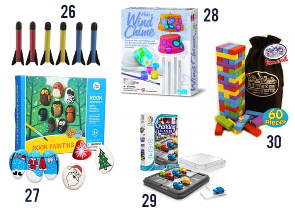 Best Gifts for Kids under $15 - Toys and games for kids on white background numbers 26-30