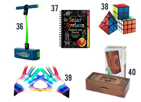 Toys and games for kids on white background numbers 36-40