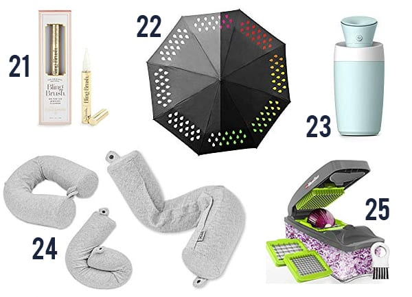 30 Classy, Nice & Useful White Elephant Gifts they'll fight over - items numbered 21-25 on a white background.
