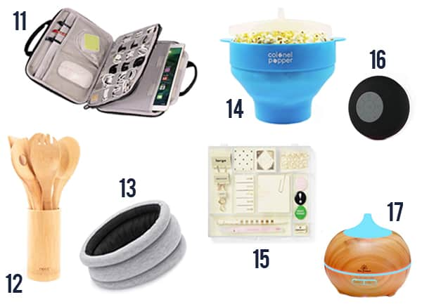 Creative White Elephant gift ideas like utensils, pillows, popcorn maker, desk supplies and more!